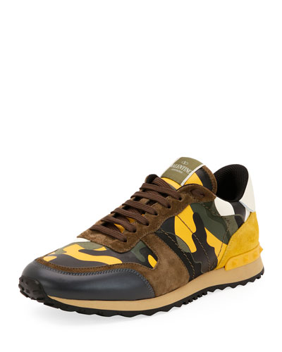 Men's Rockrunner Camo Leather Sneaker, Yellow