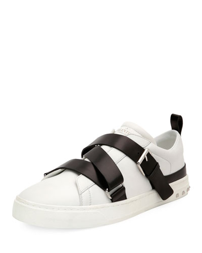 VALENTINO V Punk Leather Buckle-Strap Sneaker, White/Black