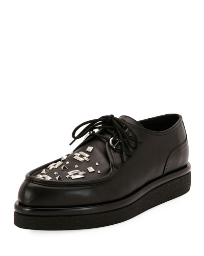 V Creep Leather Lace-Up Platform Shoe, Black
