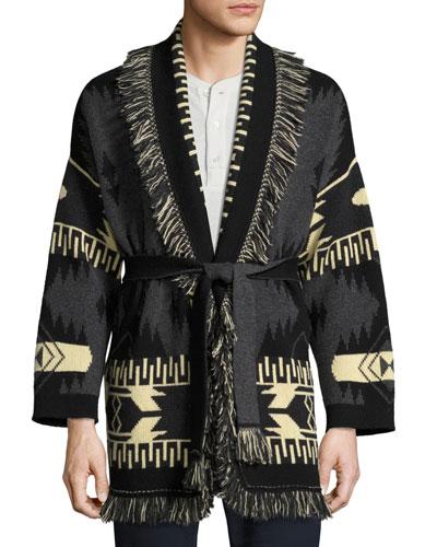 Southwestern Cashmere Wrap Sweater, Gray/Multi