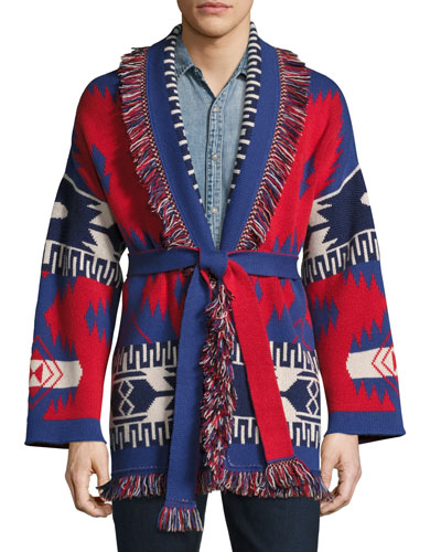 Southwestern Cashmere Wrap Sweater, Red/Multi