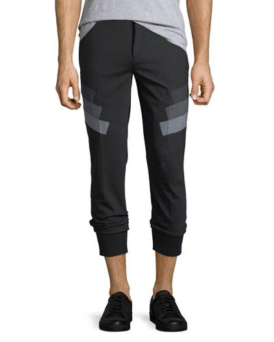 Stretch-Wool Jogger Pants w/ Military Stripes