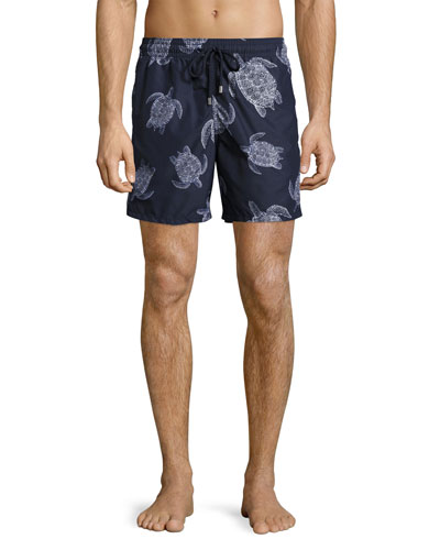 Moorea Sharkskin Turtle Swim Trunks, Blue