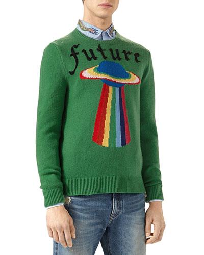 Future UFO Wool Crewneck Sweater, Green