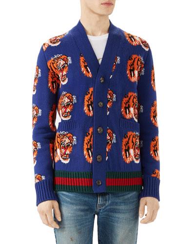 Tiger Jacquard Wool Cardigan, Dark Blue