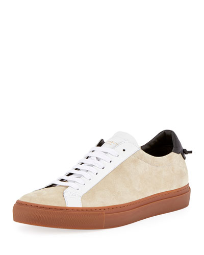 Urban Street Colorblock Suede Low-Top Sneaker, Beige