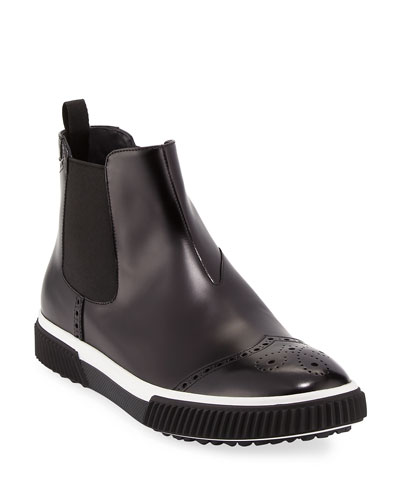 Slip-On Leather Brogue Chelsea Boot, Black