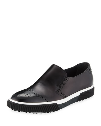 Spazzolato Brogue Slip-on Sneaker, Black