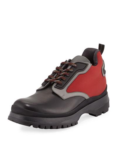 Colorblock Leather & Nylon Short Hiking Boot, Black