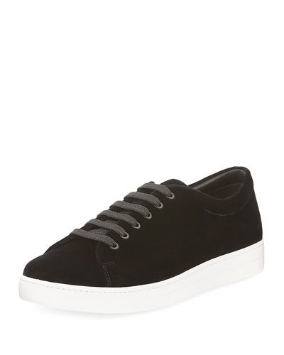 Gentleman Velvet Low-Top Sneaker, Black