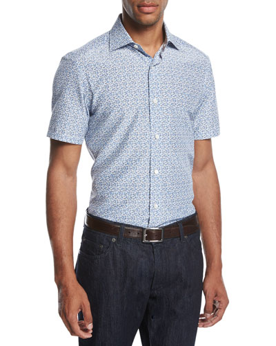 Pixel-Print Cotton-Silk Short-Sleeve Shirt, Blue/Black