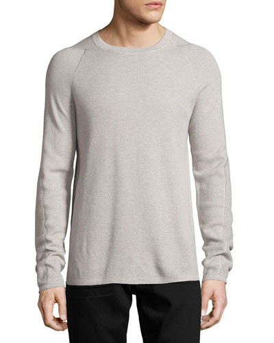 Mixed-Knit Long-Sleeve Crewneck T-Shirt, Gray