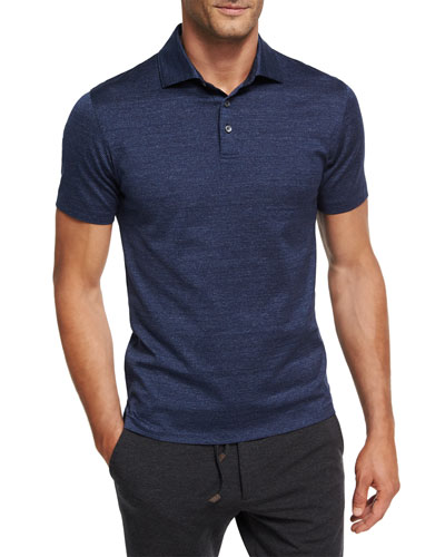 Zigzag Melange Cotton Polo Shirt, Dark Blue