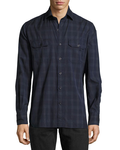 Plaid Cotton Military Shirt, Navy