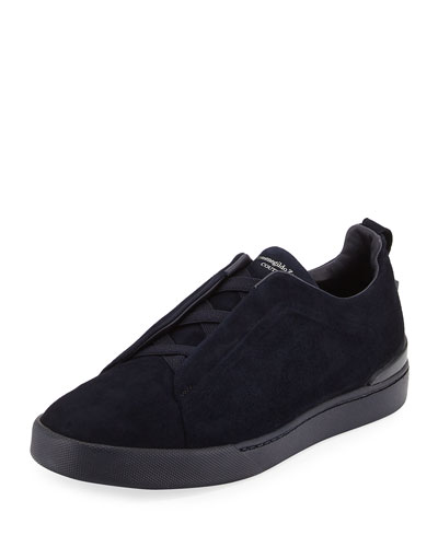 Couture Triple-Stitch Suede Low-Top Sneaker, Navy