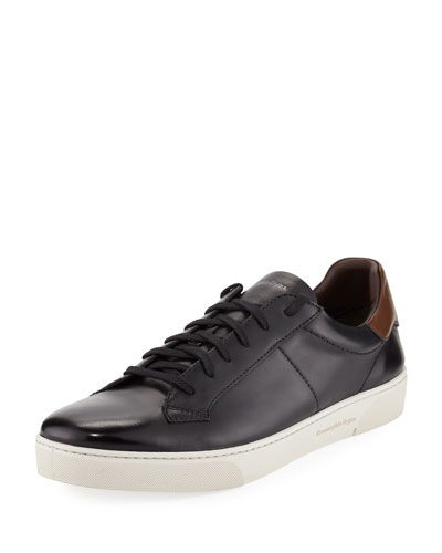 Vittorio Men's Leather Low-Top Sneaker, Black