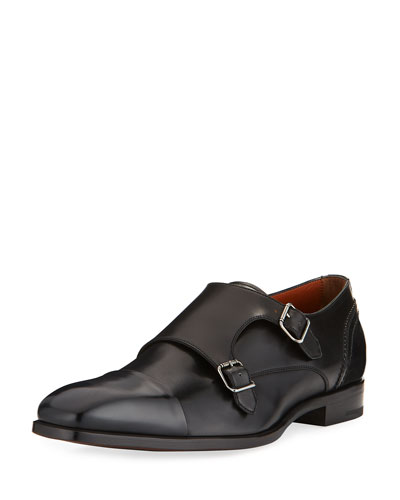 Milano Double-Monk Leather Shoe, Black