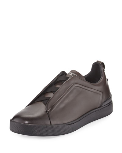 Couture Men's Triple-Stitch Leather Low-Top Sneaker, Brown