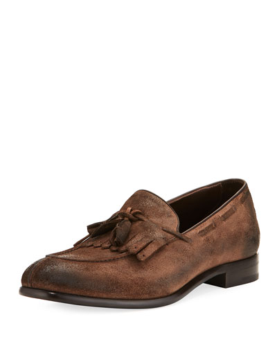 Il Moccasino Suede Fringe Loafer, Saddle