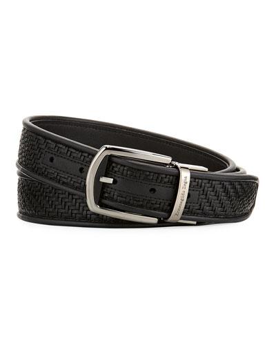 Reversible Pelle Tessuta Leather Belt, Black