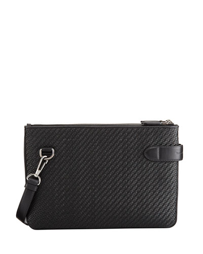 Pelle Tessuta Leather Double Crossbody Bag