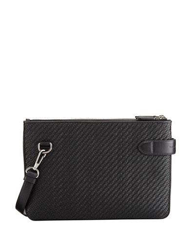 Pelle Tessuta Leather Double Crossbody Bag