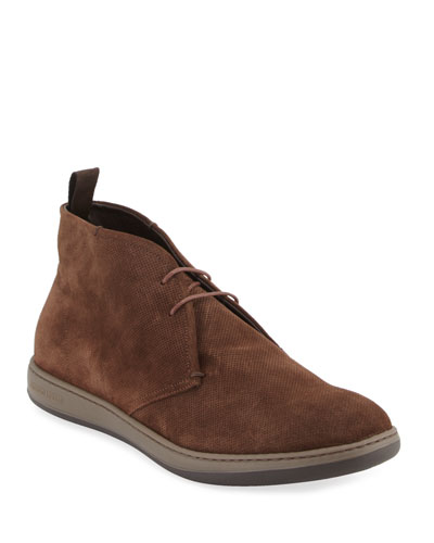 Perforated Suede Sport Chukka Boot, Brown