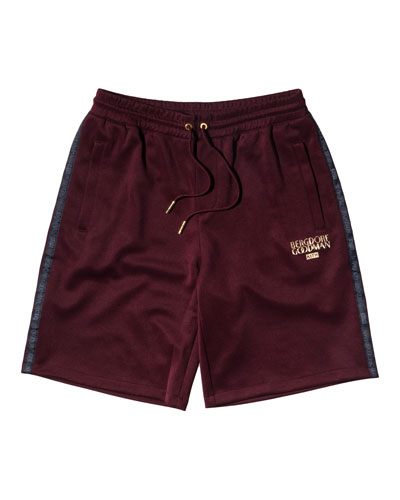 Embroidered Drawstring Shorts, Burgundy