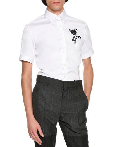 Rose & Thistle Short-Sleeve Cotton Shirt, White