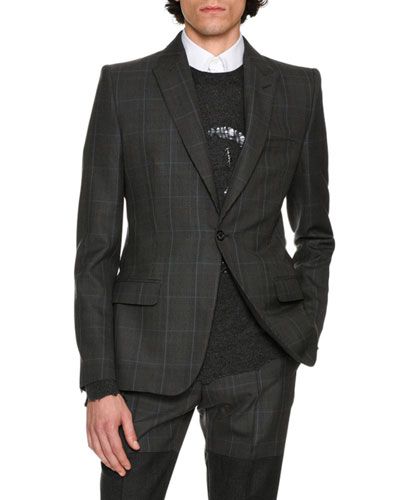 Glen Plaid Wool Sport Coat, Multicolor