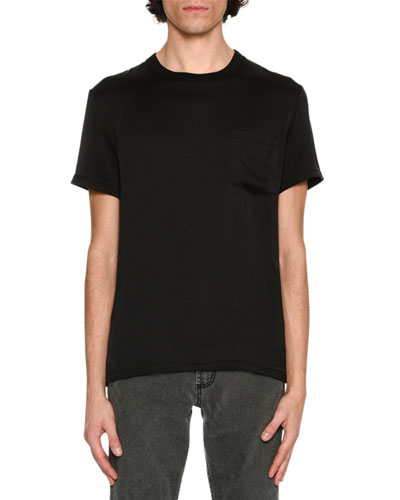 Silk Crewneck Pocket T-Shirt, Black
