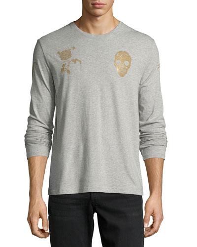 Rose & Skull Long-Sleeve Cotton T-Shirt