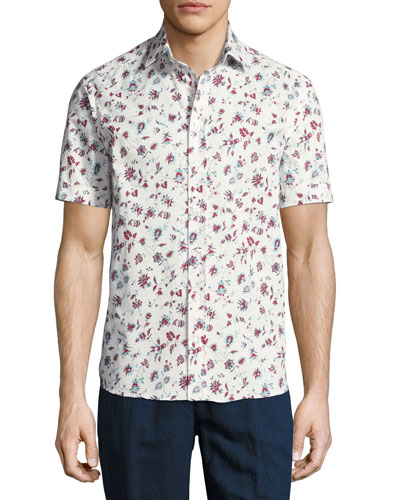 Floral-Print Short-Sleeve Cotton Shirt, White
