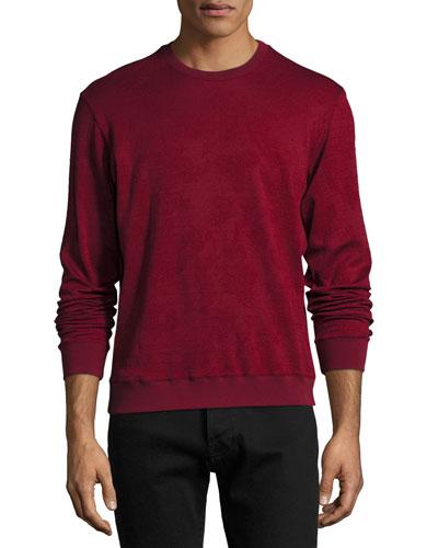 Tonal Jacquard Wool-Cotton Crewneck Sweater, Red
