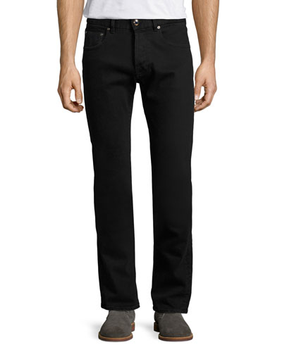 Regular-Fit Straight-Leg Jeans, Black