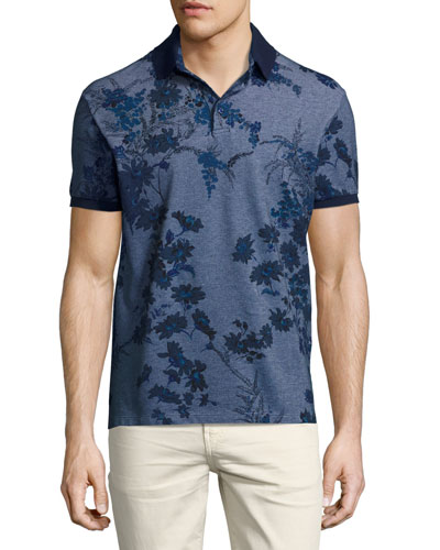Floral Melange Cotton Polo Shirt, Gray