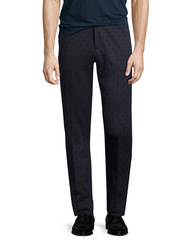 Diamond-Jacquard Stretch-Cotton Pants