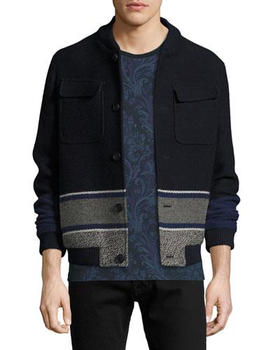 Etro Wools WOOL BLANKET-STRIPE BOMBER JACKET, NAVY