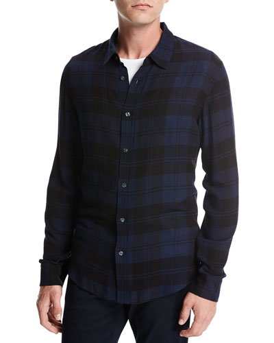 Two-Tone Plaid Shirt, Navy