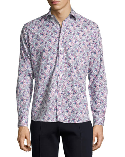 Paisley-Print Cotton Shirt, Navy/White/Magenta