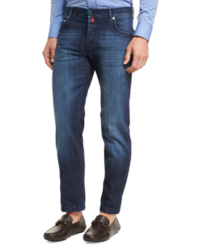 Medium Wash Denim Straight-Leg Jeans