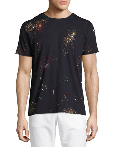 Fireworks Cotton T-Shirt, Navy