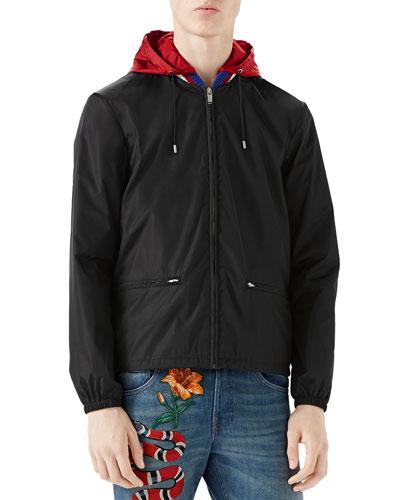Nylon Logo Jacket, Black