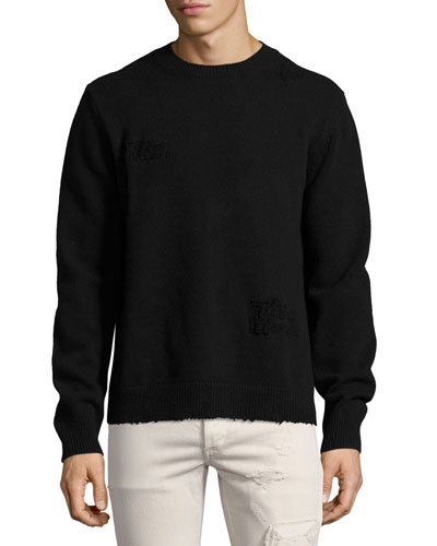Distressed Side-Slit Wool-Cashmere Sweater, Black