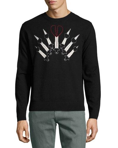 Love Blade Wool-Cashmere Crewneck Sweater, Black