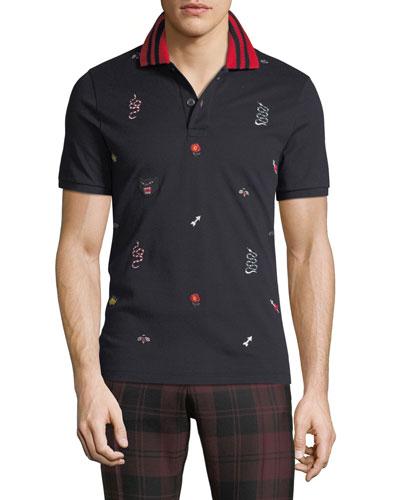 Allover-Embroidered Polo Shirt