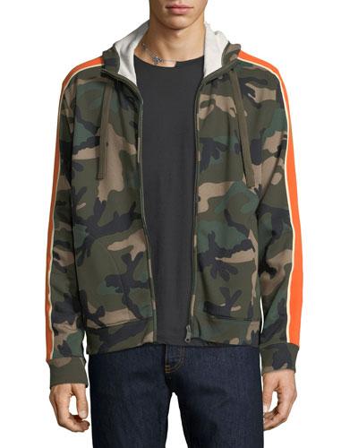 Camu Stripe-Sleeve Fleece Zip-Front Hoodie
