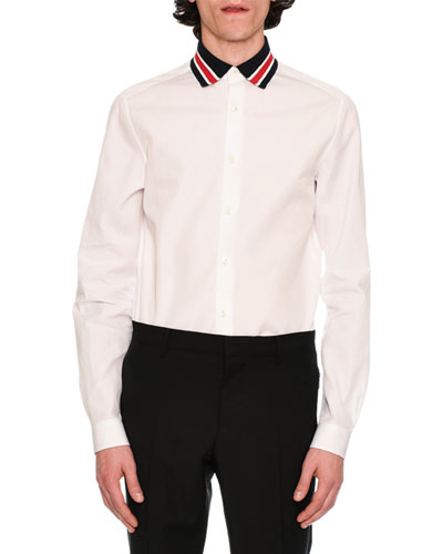 Cotton Shirt with Striped Knit Collar, White/Black