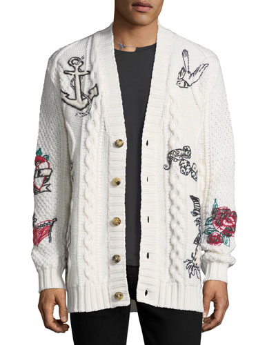 Tattoo-Embroidered Virgin Wool Cardigan