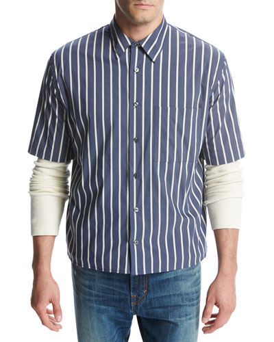 Narrow-Stripe Short-Sleeve Pleat-Back Shirt, Royal